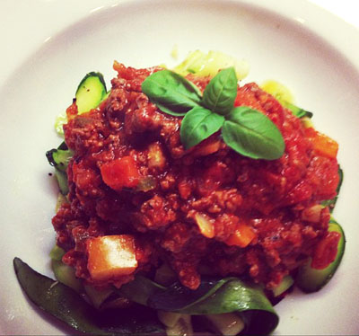 Zucchini Ribbons with Tomato Basil Sauce