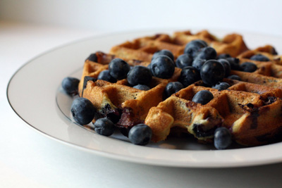 Almond Flour Waffles with blueberries